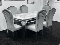 Louis marble dining table + 6 grey plush knocker back dining chairs