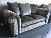 Beautiful 2 seater crushed velvet silver sofa brand new