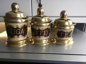 Brass kitchen display canisters