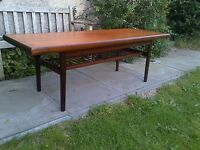 Large Danish Design teak coffee table with slatted Undershelf, Mid Century