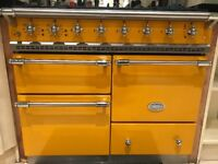 LACANCHE MACON DUAL FUEL RANGE COOKER IN YELLOW AND CHROME WITH 5 BURNERS, WARMING DRAWER AND GRILL