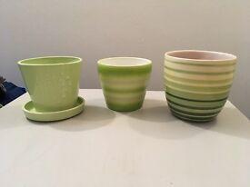 Three ceramic flower pots