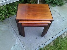 Trioh Rosewood Danish Nest of Tables Side Mid-Century