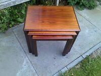 Trioh Rosewood Danish Nest of Tables Side Mid-Century