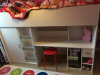 CHILDRENS CABIN BED INCLUDING MATTRESS. Childrens cabin bed with wardrobe, desk and drawers