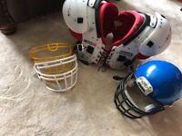 American football pads and helmet