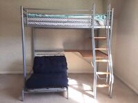 SOLD - Hyder High Sleeper Metal Bunk Bed With Futon Chair and Desk