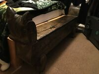 Large wooden carved ottoman
