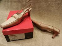 Talbots, ladies 1.5 inch heel sling backs, size 5.5 UK /7.5 wide US, beige / tan, cheap £10
