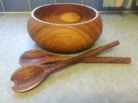 WOODEN SALAD BOWL WITH WOODEN SALAD SPOON AND FORK