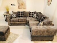 Brand New Verona Fabric Sofa in Grey Chenille Fabric - Available in Both Scattered and High back