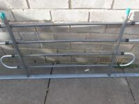 "METAL DOG GUARD GREY LACQUERED FINISH. 55"" BASE OF FRAME. MAIN FRAME 38.5"" X 20"""