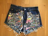 LEVI'S HIGH WAISTED SHORTS - STAR WARS PATCES - £30 ONLY - Size SMALL - RARE DESIGN