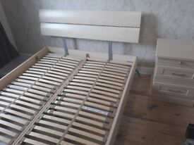 Double Bed Frame, Bedside Table, Dressing Table set for sale