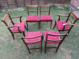 6 Vintage dining chairs 2 arm chairs detachable seats solid wood chairs in need of varnish