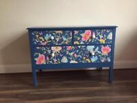 Upcycled spray-painted vinatge blue chest of drawers