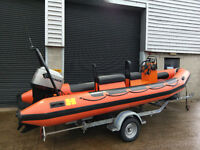 Humber Assault 5.5 Mtr Rib boat with 90HP Marineroutboard and Indespension rollercoaster trailer.