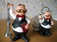 Comic waiters with Bottle opener and vinegar and oil pots.