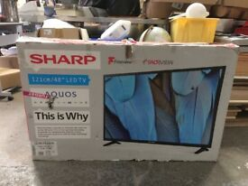 "Spares or repairs 48"" LED Sharp brand new only screen cracked"