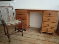 solid pine study table with 8 drawers + chair