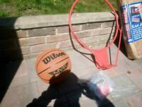 BASKETBALL HOOP WITH SUPPORT ARMS + BRAND NEW WILSON BASKETBALL
