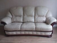 Cream Leather and Mahogany 3 Seater + Chair + Ottoman Puffe