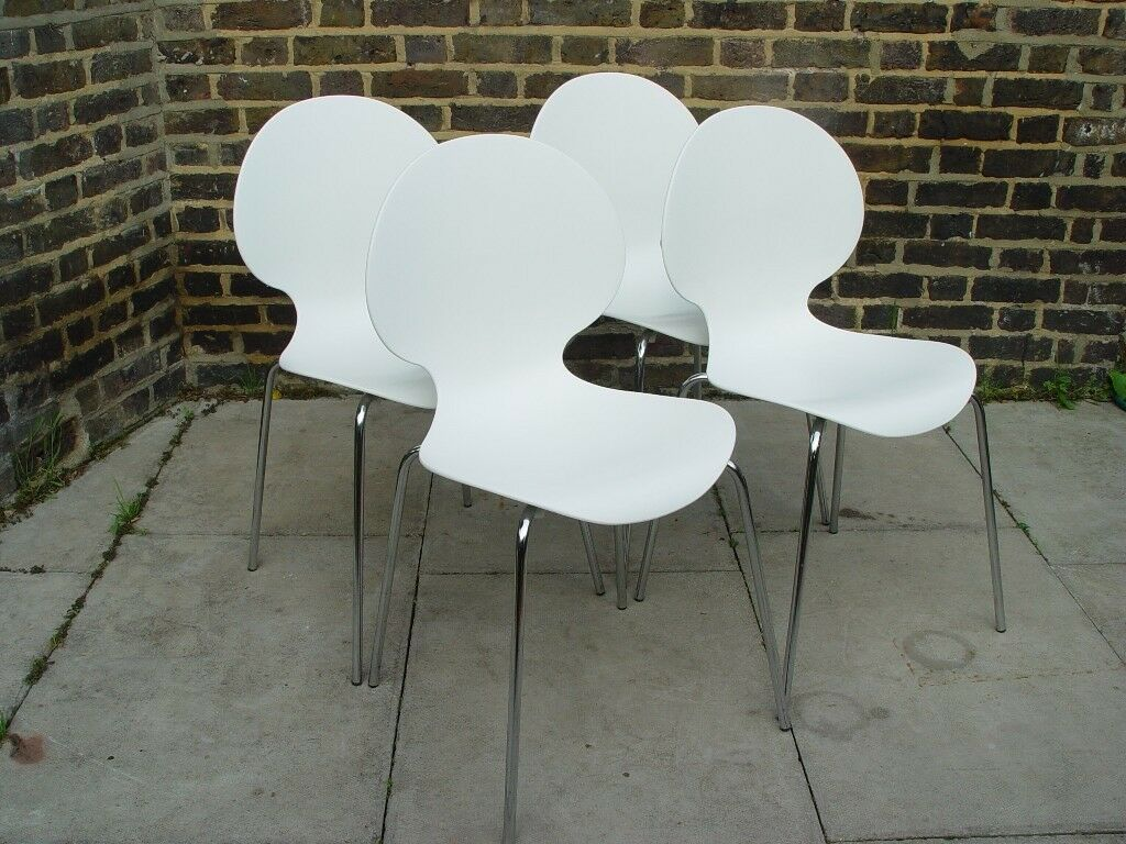 FREE DELIVERY Four Keeler White Stacking Chairs S