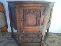 OLD CHARM (Solid Wood) Unusual shaped small Table Lamp Cabinet