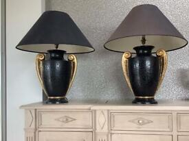 A stunning pair of black and gold table lamps H 65cm
