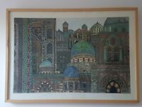 Watercolour etching - Mosques (exhibited at Royal Academy)
