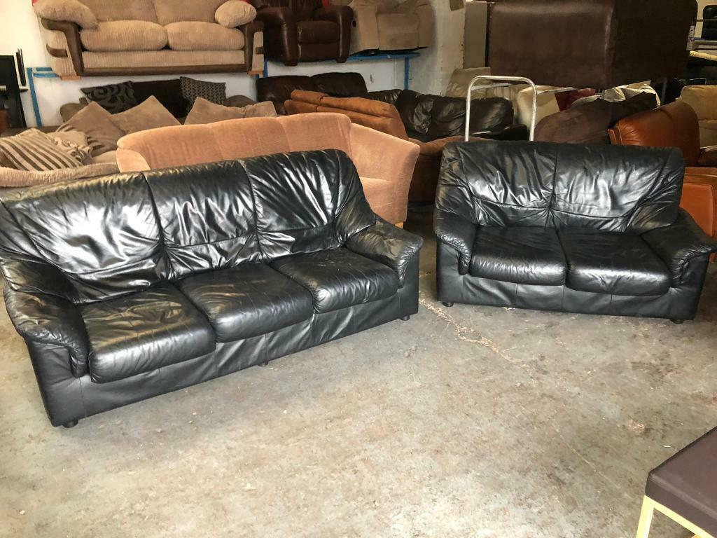 Tremendous Black Leather Sofa Set 3 2 Seater Used In Good Condition In Didsbury Manchester Gumtree Machost Co Dining Chair Design Ideas Machostcouk