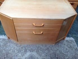 Wooden TV stand with DVD drawers