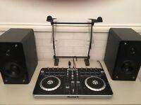 Full Dj setup, Numark mixtrack pro 2, 600w pro dj amp, 5 speakers, laptop stand, cables, desk