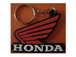 HONDA-WING-MOTORCYCLE-RUBBER-KEYCHAIN-keyring-RED