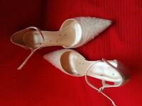 Ivory satin beaded pointy sling-back shoes great condition worn twice size 5 slim heel of 3 inches