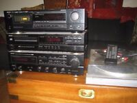DENON stereo system: receiver (intermittent fault on left channel), CD&tape players + Akai turntable