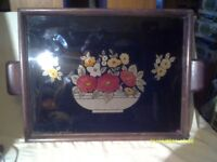 A TRAY , WOOD FRAME with a FLORAL TIN FOIL PICTURE UNDER GLASS plus 2 HANDLES +++