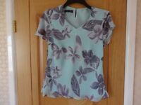 JACQUES VERT FLORAL PRINT TOP WITH SCARF (or waist tie) - AS NEW
