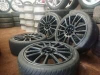 "Black 17"" multifit 4x100 4x108 alloy wheels + four tyres vw nissan honda toyota ford citreon"