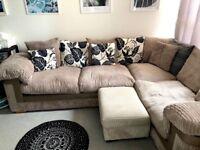 Sofology Left Hand 1.5 x 2.5 Corner Sofa Mink Cord For Sale