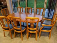 Large Solid Pine Extendable Dining Table + 8 Chairs