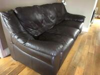 Chocolate Brown Genuine Leather Sofa Suite