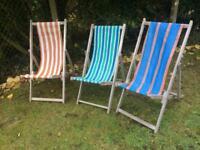 Vintage British beach deck chairs