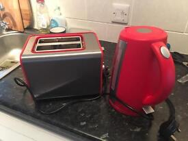 Matching Red Kettle and Toaster