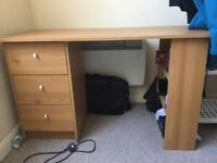 3 drawer desk with shelves - great condition