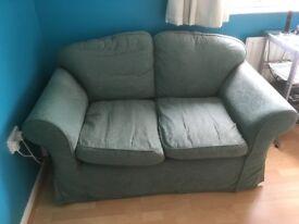 Sofa, Green 2 seater width 1m 50cm, Depth92cm, Height 83cm.