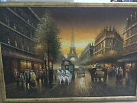 Paris street large oil painting Beautifully Hand painted Size 26.5 x 38.5 inch