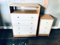 Chest of drawers and bedside table. Bedroom. Draws. Storage