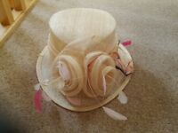 Beige ladies dressy hat ideal for Ladies day or a wedding