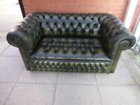 A Dark Green Buttoned Leather Chesterfield Seater Sofa Settee